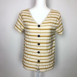 Stripes button front V-Neck short sleeve Gap XS
